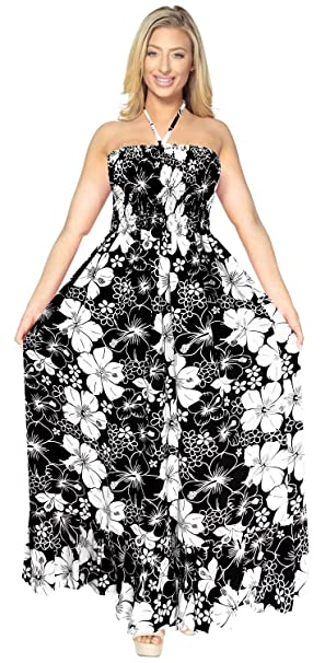 LA LEELA Women\'s Plus Size Tube Top Dresses Summer Swing Beach Dress  Printed A