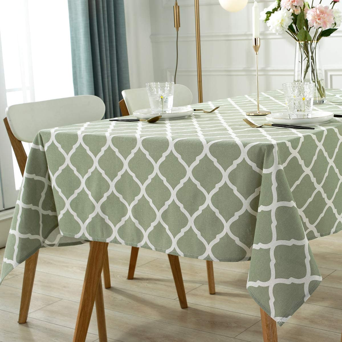 """Rectangle Tablecloth Cotton Linen-52""""x70""""-Table Cover Wrinkle Free Table Cloths Floral Printed Tabletops Outdoor and Indoor Dining Kitchen Patio Decoration (Rectangular/Oblong(4-6 Seats), Green): Home & Kitchen"""