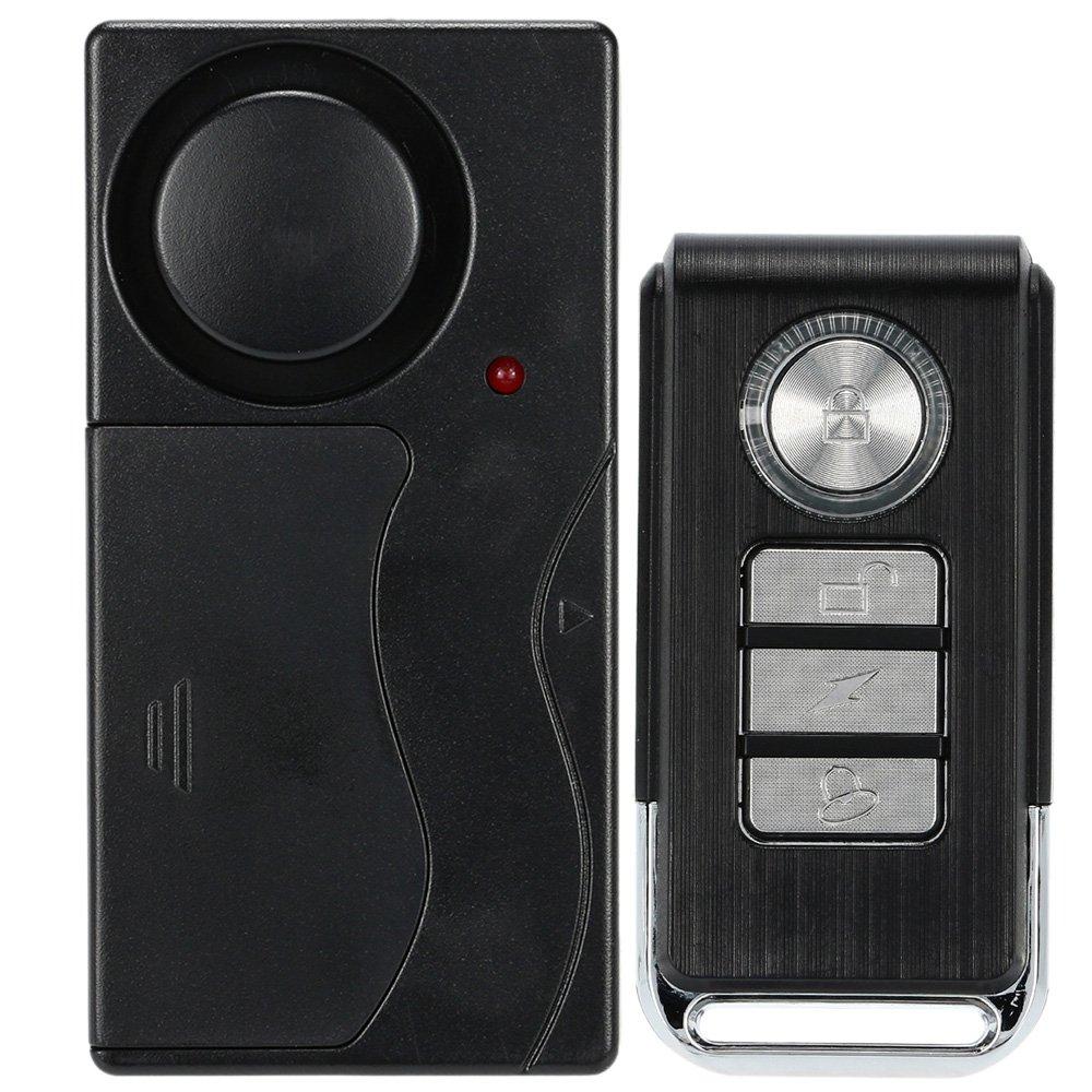 KKmoon Wireless Remote Control Vibration Alarm Home Haus Sicherheit T/ür Fenster Auto Sensor-Detektor