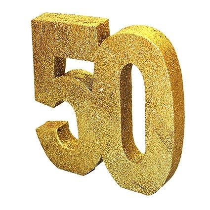 8 Gold Glitter 50th Birthday Table Decoration