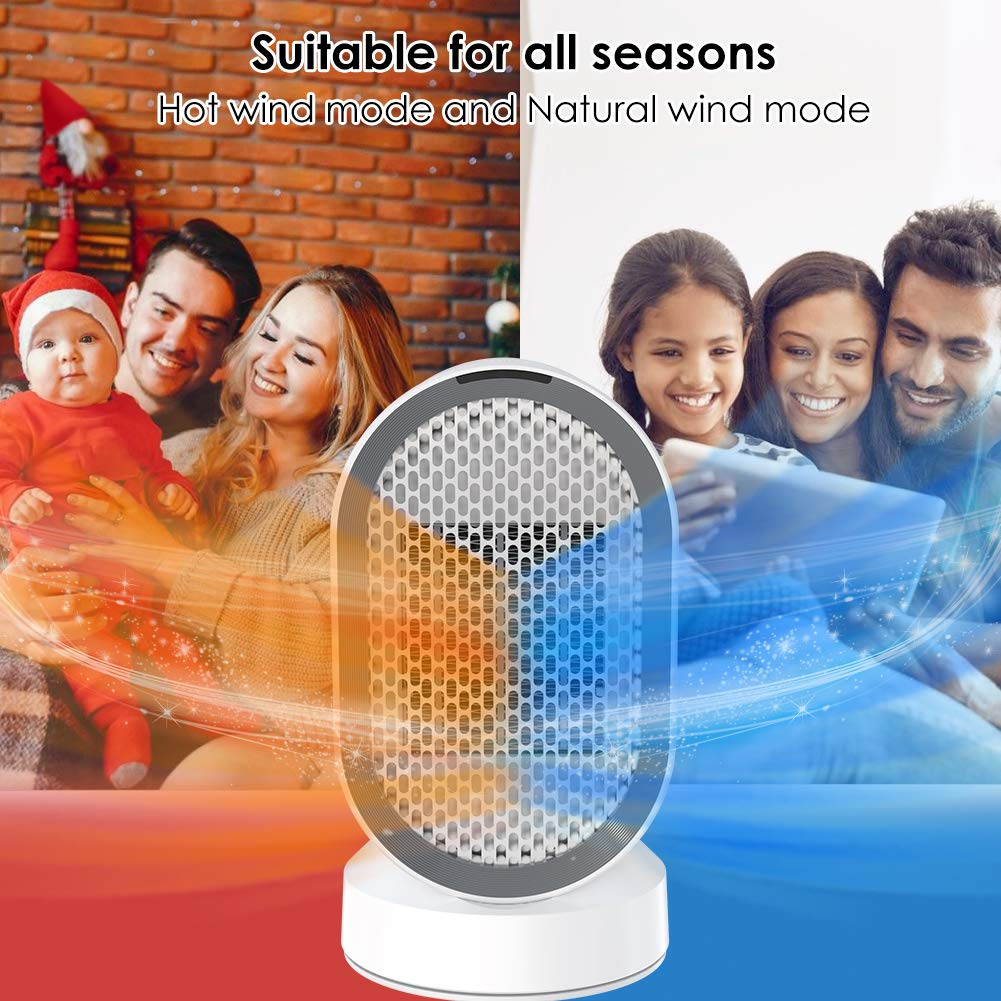 Laluztop DH QN04 Electric Heater PTC Ceramic Space Heater 600W Portable Fan Heaters Personal 2S Fast Heating 45°Oscillation Over heat&Tip over