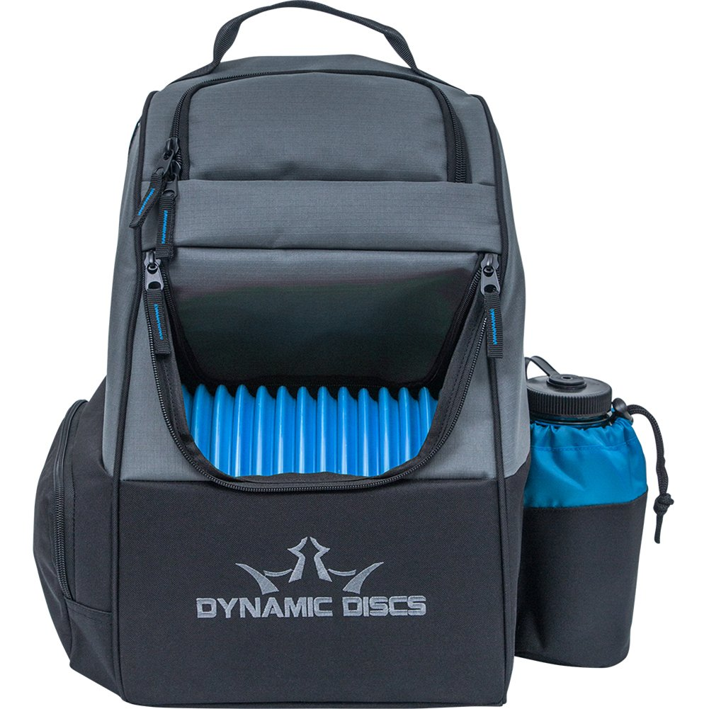 Dynamic Discs Trooper Disc Golf Bag - Fits Up to 18+ Discs and Four Putters - Introductory Disc Golf Backpack - Lightweight and Durable (Black/Blue)