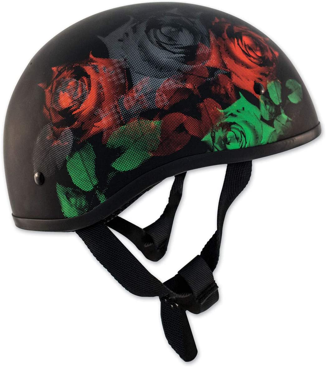 Zox Retro Old School Roses Matte Black Half Helmet 88-34165
