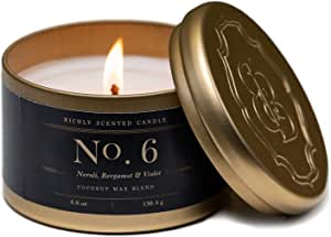 Britten & Bailey's Tin Candle Fragrance, Wax, Blue & Gold, 4.6 oz