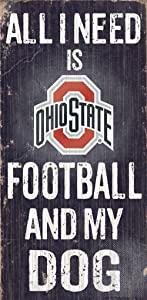 Hall of Fame Memorabilia Ohio State Buckeyes Wood Sign - Football and Dog 6''x12''