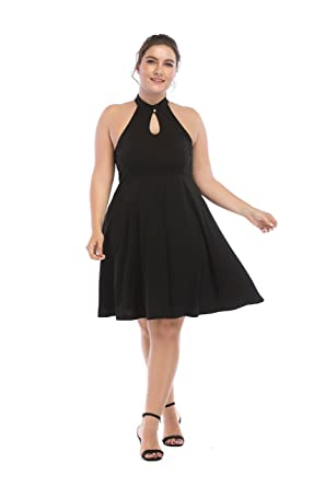 Gmho Womens Sexy Plus Size Halter Neck Sleeveless Swing Black Party