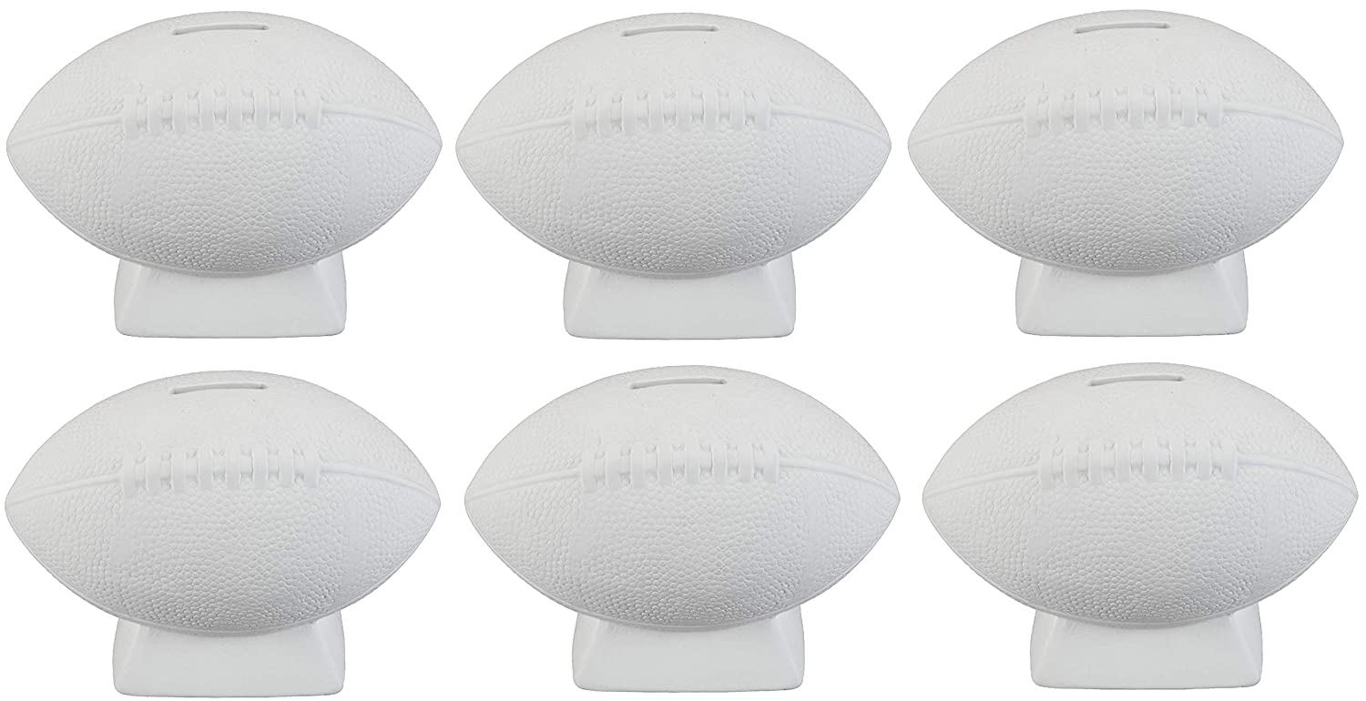 Creative Hobbies Football Bank with How to Paint Your Own Pottery Booklet Case of 6 Unfinished Ceramic Bisque