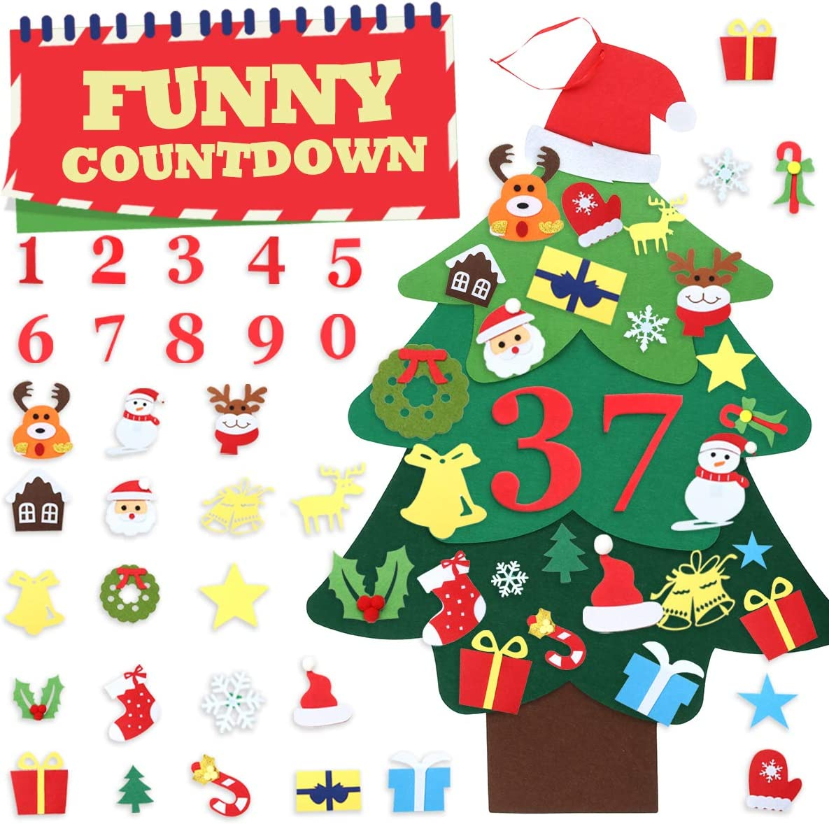 Jeteven Felt Christmas Tree, 3.2FT Christmas DIY Felt Tree for Toddlers with 39pcs Ornaments, Wall Hanging Detachable Xmas Gifts Home Decorations for Kids DIY Door, Office, Classroom