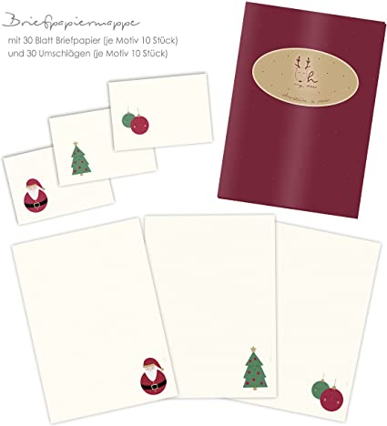 Kit Papier A Lettres De Noel Motif Pere Noel Sapin De Noel