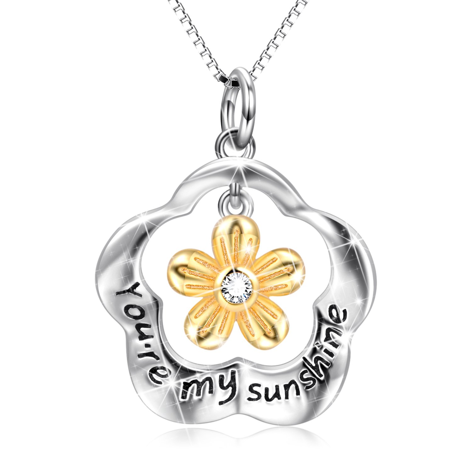 POPLYKE You are My Sunshine Sterling Silver Sunflower Pendant Necklace Gifts for Women Girls by POPLYKE (Image #1)