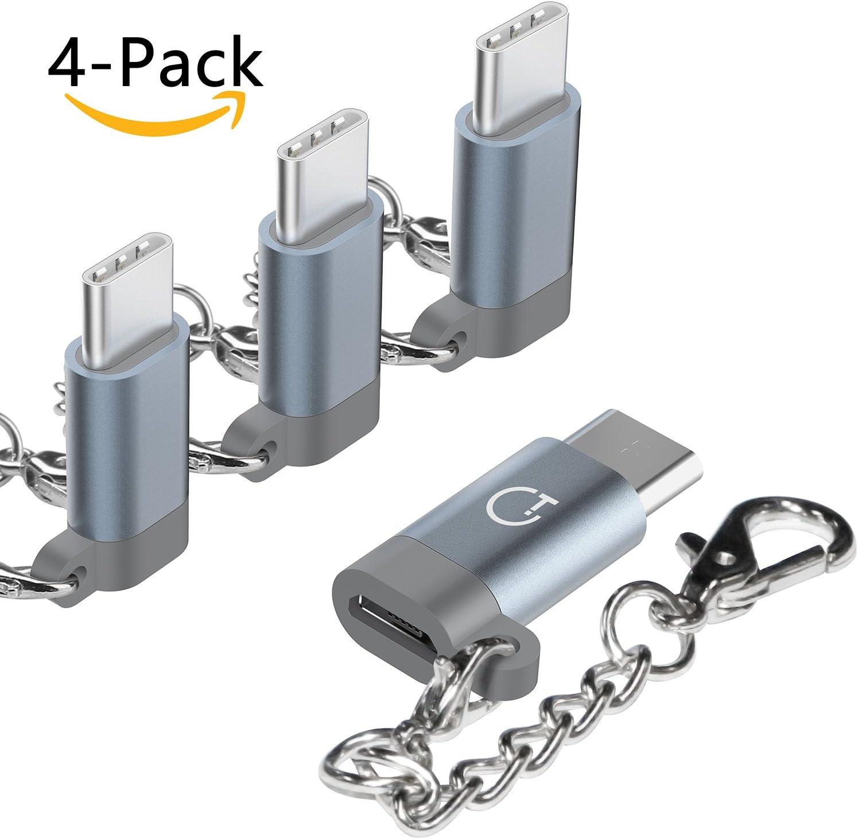 Gritin Adaptador USB C, 4 Pack Adaptador Type C a Micro USB de Aluminio Conector Convertidor con Llavero para Carga y Transferencia de Datos para MacBook,Nexus 5X,Nexus 6P, LG - Gris