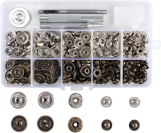 50 ensembles boutons-pression à coudre argent boutons à bouton-pression en