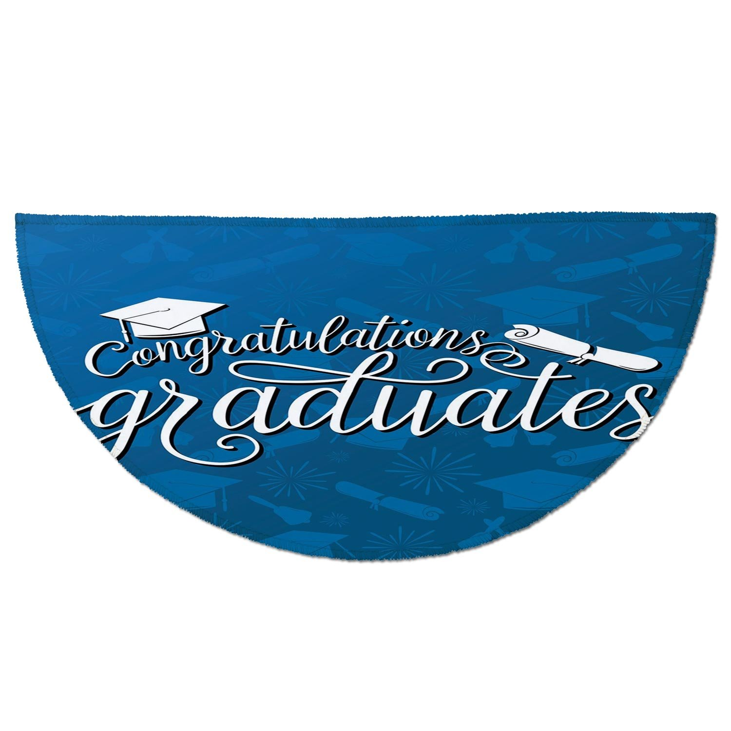 Half Round Door Mat Entrance Rug Floor Mats,Graduation Decor,College Celebration Ceremony Certificate Diploma Square Academic Cap,Blue and White,Garage Entry Carpet Decor for House Patio Grass Water