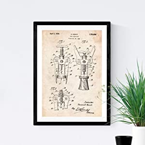 Nacnic Prints Vintage Patents Corkscrew - Set of 1 - Unframed 11x17 inch Size - 250g Paper - Beautiful Poster Painting for Home Office Living Room