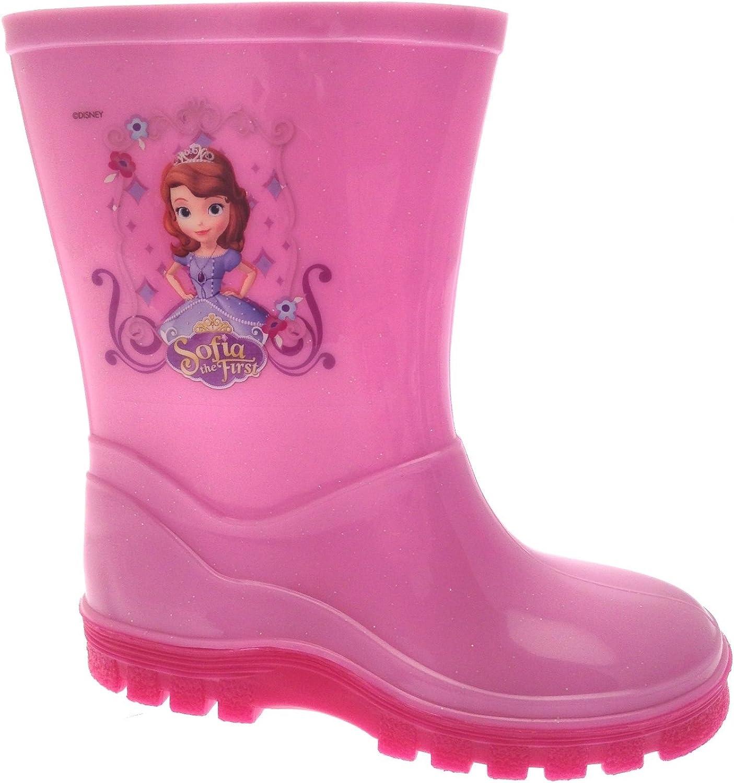 Girls kids Magenta Disneys Sofia Wellies Rain Wellingtons Boots Size 13//32