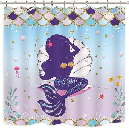 "60x72/"" Waterproof Fabric Photo Shower Curtain Undersea Mermaid Decor w// Hooks 57"