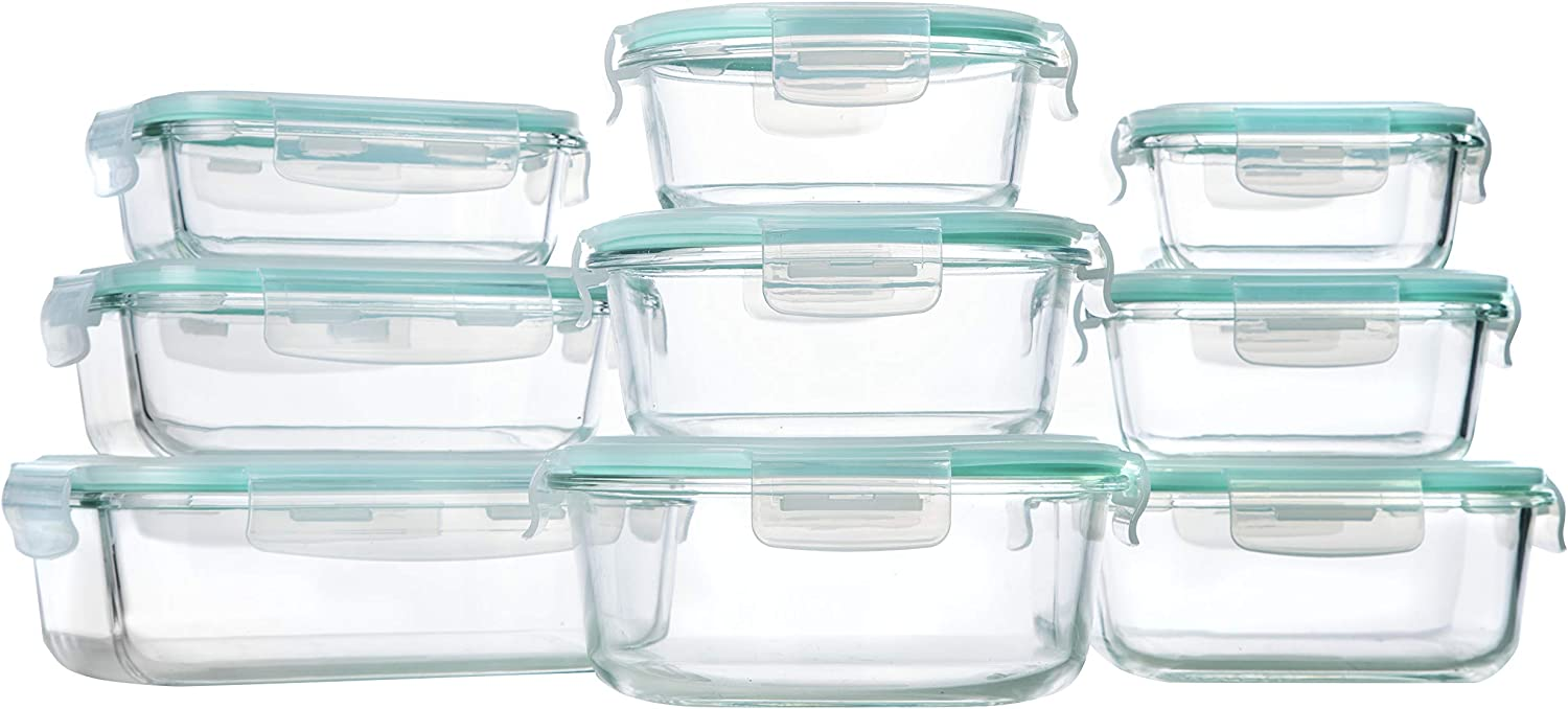 Glass Storage Containers with Lids, 9 Sets Glass Meal Prep Containers Airtight, Glass Food Storage Containers, Glass Containers for Food Storage with Lids - BPA-Free & FDA Approved (Blue)