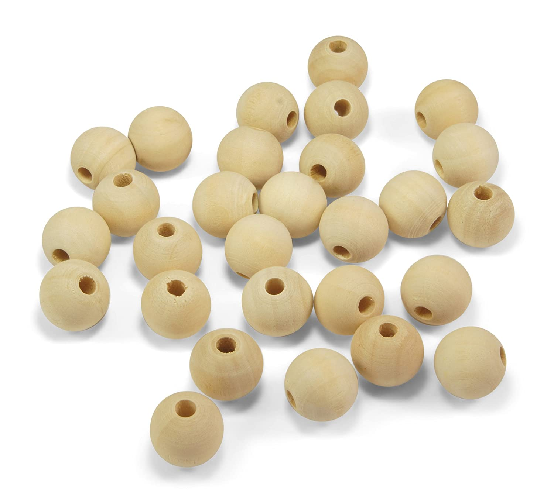 ❤️HobbyHerz 60 Stück Holzperlen 16mm rund Natur Holz unbehandelt ♥ Loch ca. 3mm ♥ Perlen zum Fädeln + Basteln (16mm)
