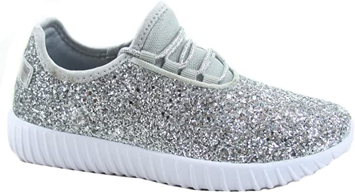FZ-Remy-18 Women's Fahsion Sparkling Glitter Lace Up Light Weight Sneaker Shoes (Silver, Numeric_9)