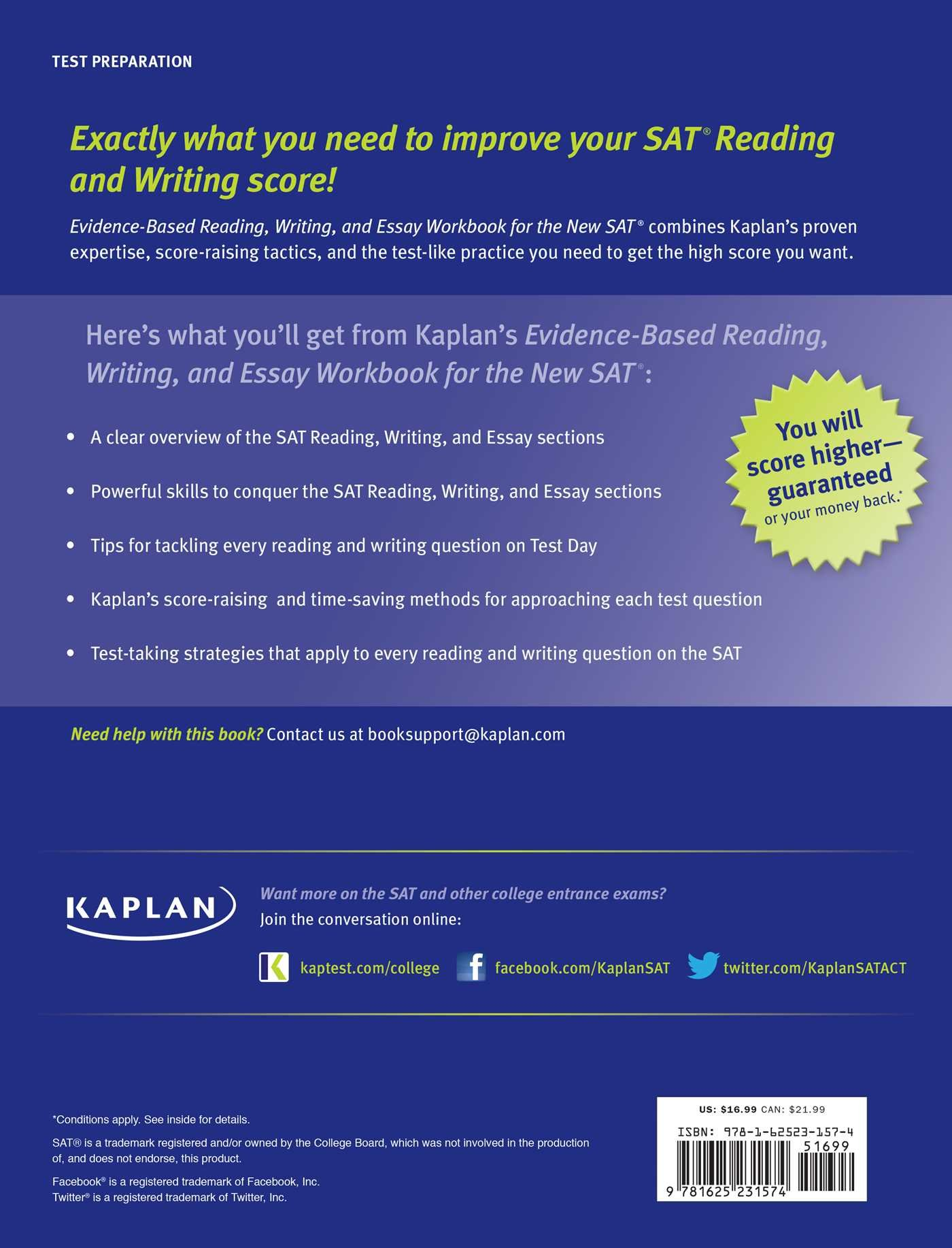 kaplan evidence based reading writing and essay workbook for the kaplan evidence based reading writing and essay workbook for the new sat kaplan test prep kaplan test prep 9781625231574 com books