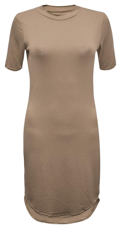 GirlzWalk @ Women Curved 3/4 Short Sleeves Polo Neck Mini Tunic Party Dress
