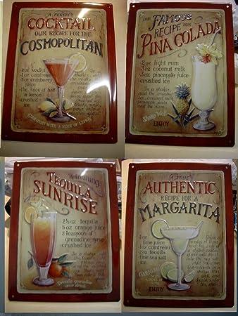 Blechschilder Küche blechschilder cocktail 4er set schilder bilder amazon de küche