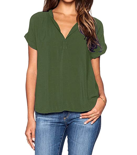 a5386bee9ae roswear Women's Casual Blouse V Neck Short Sleeve Top Shirts Army Green  Small