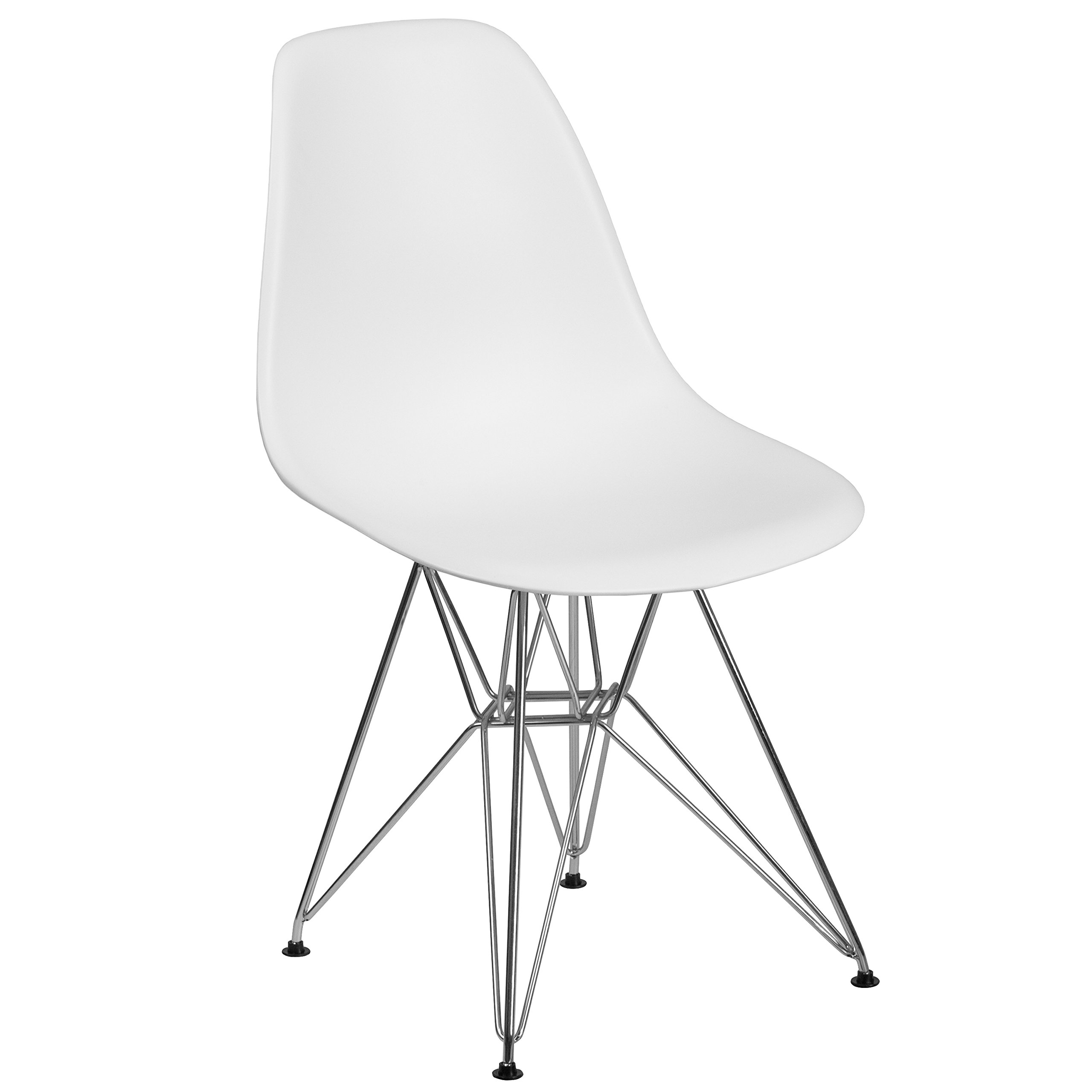 Flash Furniture Elon Series White Plastic Chair with Chrome Base