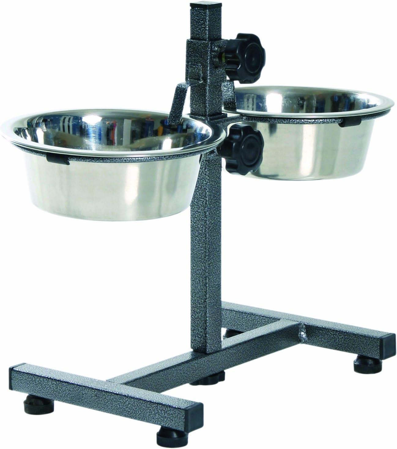 Trixie - soporte para cuencos para perros, 2 x 0,75 L (diámetro 15 cm), hasta 27 cm de altura ajustable, negro