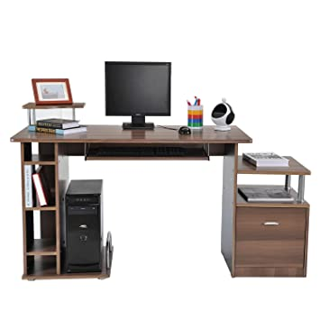 check out 90a70 c6eb2 HOMCOM Computer Desk PC Workstation with Drawer Shelves CPU Storage Rack  Home Office Furniture (BROWN)