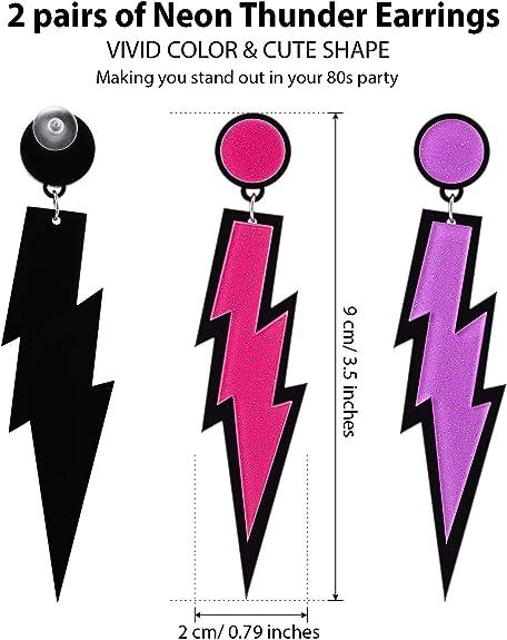 Vari Colori Neon Orecchini a Cerchio 1980s Accessorio Vestito Anni 80 Party