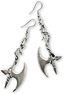 Gothic Vine Wrapped Executioner's Axe Medieval Renaissance Dangle Earrings