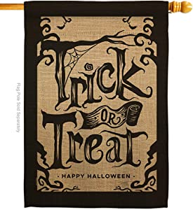 "Breeze Decor Halloween Trick House Flag Fall Witch or Treat Spooky Night Black Cat Season Autumntime Pumpkin Decoration Banner Small Garden Yard Gift Double-Sided, 28"" x 40"", Made in USA"
