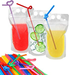 100 Pcs Drink Pouches with 100 Straw Holes, Freezable Juice Bags Pouches, Translucent Reclosable Zipper Plastic Pouches Drink Bags for Cold & Hot Drinks for Adults and Kids