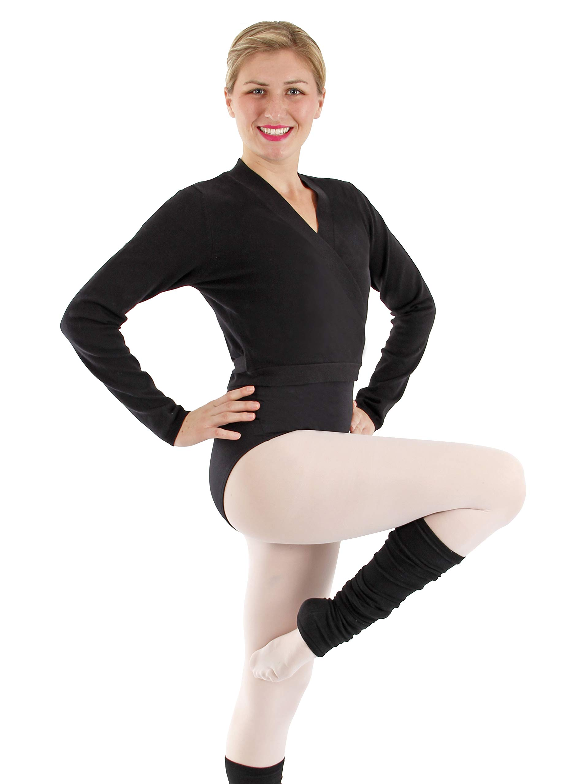 Basic Moves Cotton Blend Wrap Sweater (M/L, Black) by Basic Moves