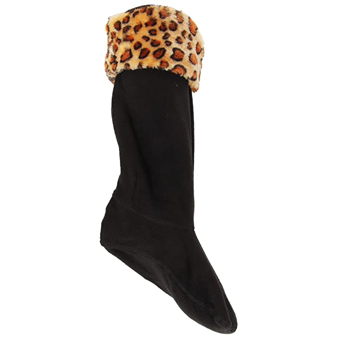 LADIES WOMENS WINTER SOFT COSY FLEECE PRINT WELLINGTON WELLIE BOOT SOCKS LINERS