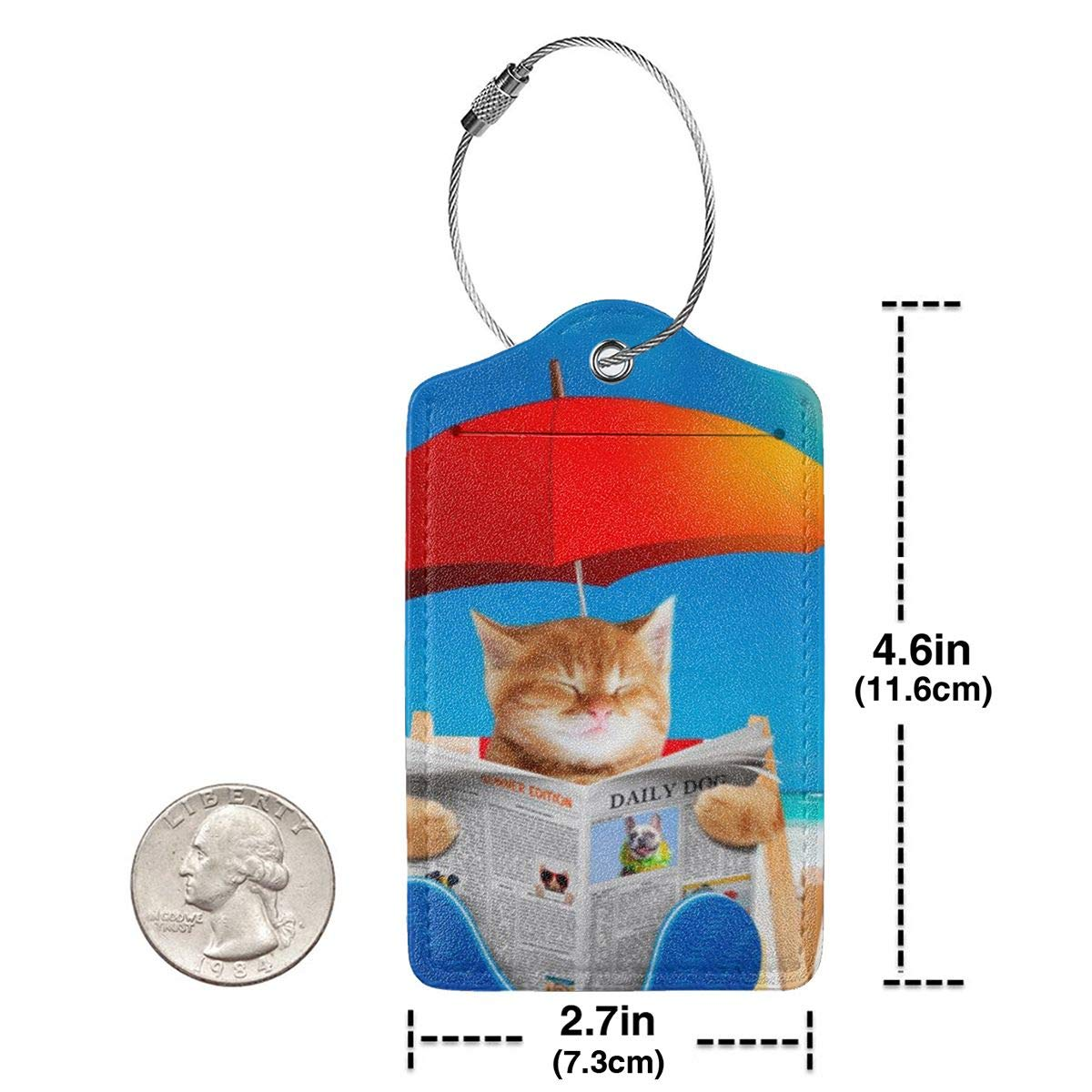 Leather Luggage Tag Cat Read Newspaper In Beach Chair Luggage Tags For Suitcase Travel Lover Gifts For Men Women 4 PCS