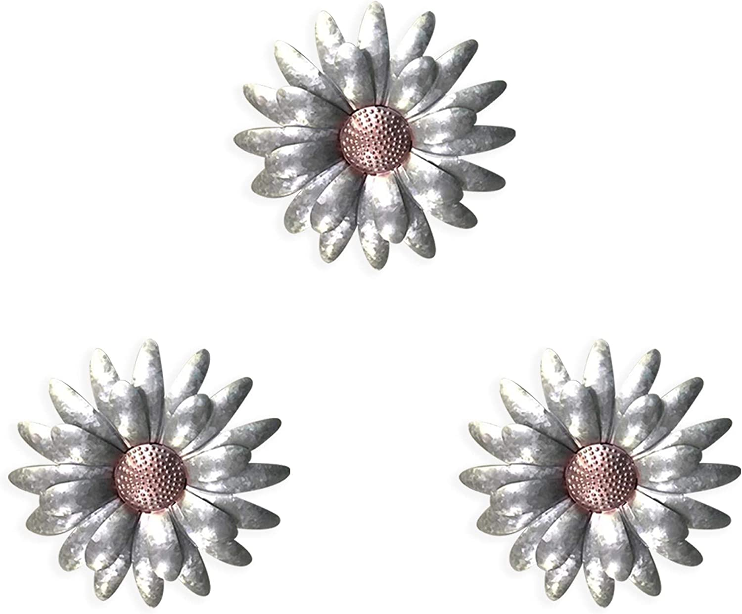"Galvanised Flowers Wall Décor (Set of 3, 10""), Rustic Metal Flower Wall Art. Perfect indoor metal wall decor! Stunning large outdoor wall decorations for patio/fence decoration (Galvanised Rose Gold)"