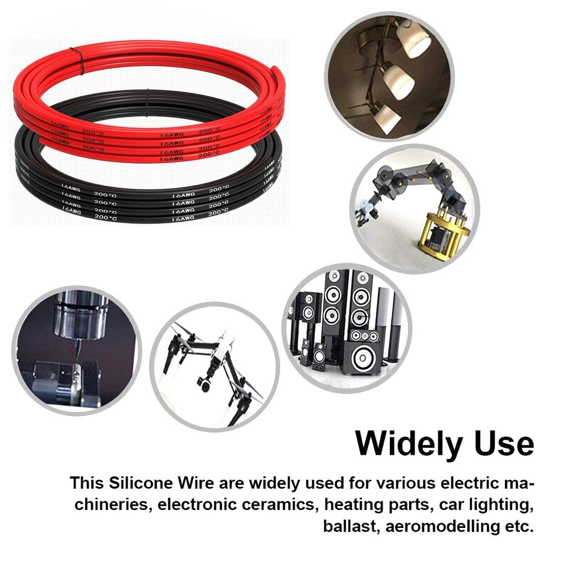 1,5 m noir et 1,5 m rouge Fil de silicone 8 AWG -1650 brins de fil de cuivre /étam/é c/âble de batterie /à souder rapidement TUOFENG Fil /électrique de calibre 8