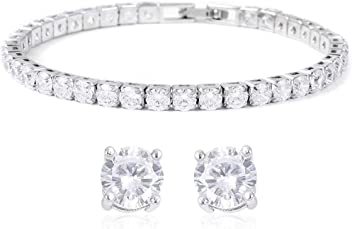 26f779a21 Shop LC Delivering Joy White Cubic Zirconia CZ Tennis Bracelet Stud Earrings  for Women Jewelry Set