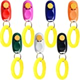 Coolrunner 7pcs 7 Color Universal Animal Pet Dog Training Clicker with Wrist Bands Strap, Assorted Color Dog Clickers for Pet
