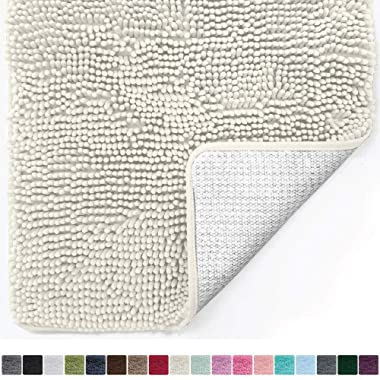 Gorilla Grip Original Luxury Chenille Bathroom Rug Mat (44 x 26), Extra Soft and Absorbent Large Shaggy Rugs, Machine Wash/Dry, Perfect Plush Carpet Mats for Tub, Shower, and Bath Room (Ivory Cream)