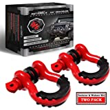 "AUTMATCH Shackles 3/4"" D Ring Shackle (2 Pack) 41,887Ib Break Strength with 7/8"" Screw Pin and Shackle Isolator & Washers Kit"