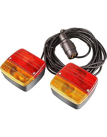 LED Luces Magn/éticas para Remolque con Cable Kit de Iluminaci/ón 2,5 m 7 m Focos de Remolque con Enchufe Set de Traseros Kit de iluminaci/ón para Cable en Espira