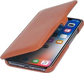 StilGut Housse pour iPhone XS & iPhone X Book Type en Cuir élégant à Ouverture latérale, Cognac avec Clip