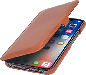 StilGut Custodia per Apple iPhone X/iPhone XS a Libro in Pelle, Cognac con Clip