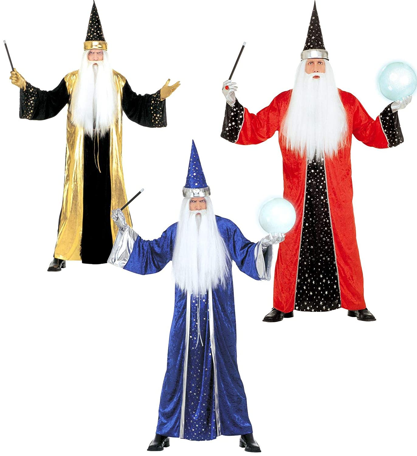 Partypackage Adults Fantasy Wizard Red bluee gold Costume Fancy Dress XL 46  Chest