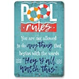 """Metal Sign - Pool Rules - Durable Metal Sign - Use Indoor/Outdoor - Makes Great Pool Side Decor Under $25 (12"""" x 18"""")"""