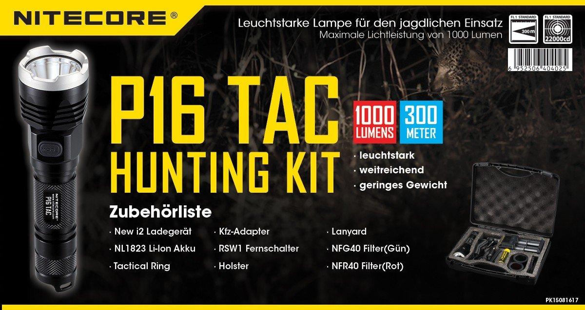 Nitecore Hunting Set P16TAC Taschenlampe, Schwarz, One Größe