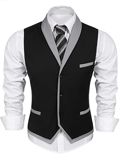 Men s Casual V-Neck Sleeveless Slim Fit Jacket Business Suit Dress ... 3336017fb3b8